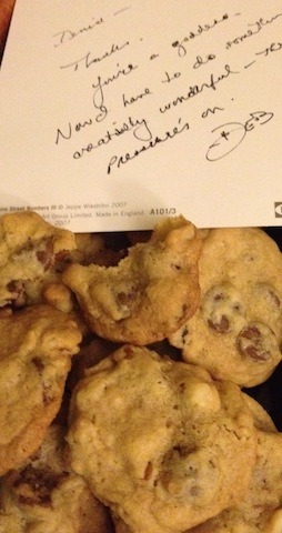 The sweetest surprise!  I came home to find these chocolate chip macadamia nut cookies waiting for me.  My neighbor, Deb, left them (with a handwritten note!) to thank me for tracking down a sold-out hanging shoe rack she want to repurpose for vertical gardening inside our community garden.  Note to self:  Bake cookies and write a note for next thank you gift.  The handcrafted combo made my day!  -Denise, acting web editor