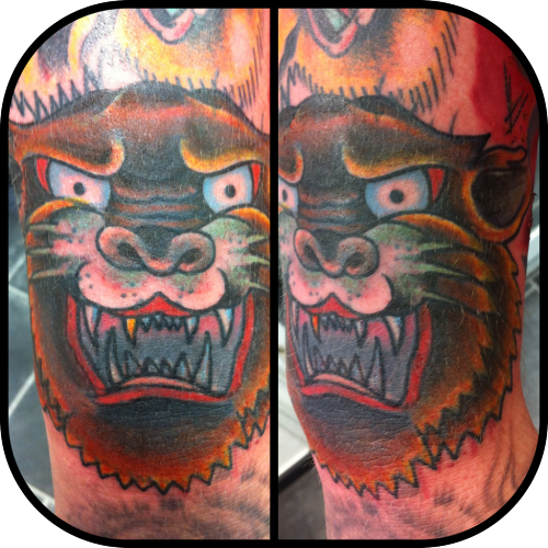 Coverup of a bad coverup.  Simon J BLay Tattooer @ Interskin tattoo, Staines, UK
