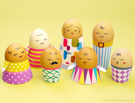 DIY Free Printables for Egg People. The graphics and colors on these egg holders are really beautiful. Free printables from Mr. Printables here. *First seen at Jamie says dream here.