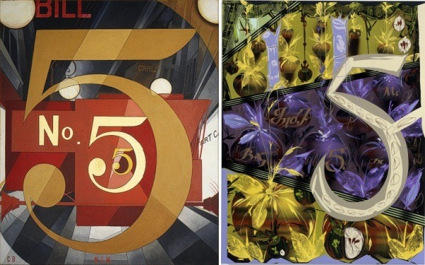 manpodcast:  At the left is Charles Demuth's great I Saw the Figure 5 in Gold (1928) at the Metropolitan Museum of Art and at right is Lari Pittman's Untitled #9 (2007). What's the relationship between the two paintings? Pittman explains what the Demuth has to do with his painting — and what not — on this week's Modern Art Notes Podcast. Click here to read the story, and click through to download this week's show!