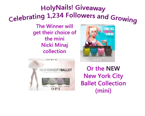 holynails:  GIVEAWAY!!!! We're close to hitting 1,234 Followers Do you know what that means? That means I get to thank you lovely people with this adorable giveaway. Here are the rules: 1. You MUST be following HolyNails! 2. One (1) entry for a reblog and one (1) for a like 3. Only two entries per person 4. NO Tumblrs that are giveaway blogs, you will be disqualified 5. NO more than 1 Reblog and 1 Like Giveaway ends on 11pm PST on April 8th The winner will be picked from Random.org after I organize the names on a Spreadsheet. Good luck, my lovelies!!! EDIT: I can't ship internationally, I'm SOOOOO sorry. It's just so expensive for me. This giveaway is going to be open to US residents only. I'll try to find a seller that ships (cheaply) internationally. Thank you!