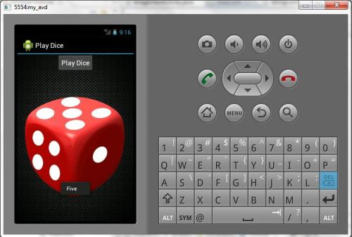 So Finally i developed my first android app. This is just a basic app which generates a random number less than 6. So we can use it as dice in normal board games. You can see the PlayDice app in action in the above pic. You can download this app and try on your android phone. here download link http://www.mediafire.com/?vrpjd4p8i4027qr