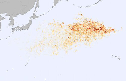 Tracking Debris from the Tohoku Tsunami  The Japanese government estimated that 5 million tons of debris was swept up by the monstrous tsunami of March 2011. The map above shows the output of the Surface Currents from Diagnostic (SCUD) model, an attempt to simulate where and how that debris would disperse. Orange and red shaded areas represent parcels of water with a high probably of containing floating debris. The deeper the red color, the higher the likely concentration. The debris field stretches roughly 5,000 kilometers by 2,000 kilometers across the North Pacific. […] [Animation]