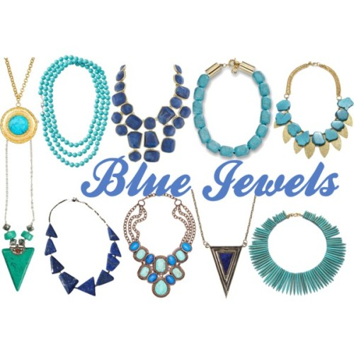 Blue Jewels. These stunning statement necklaces work are modern Cleopatra yet feminine. Pair them with a Grecian-inspired maxi dress for the ultimate wow-factor, or dress up a chambray shirt for daytime. I even love to wear mine with a crew neck black tee and jeans for something a little unexpected and edgy. Find them here (clockwise from top left): Max & Chloe Yochi pendant // Stella & Dot La Coco rope necklace (similar) //  Kenneth Jay Lane bib necklace (similar) // Michael Kors Turquoise necklace // Charm & Chain Turquoise Gold Leaf necklace (similar) // Zad Turquoise Stone Triangle pendant // MINU Jewels Lapis brass necklace // Monet Showstopper necklace (similar) // Pamela Love pendant // Kenneth Jay Lane Turquoise Spike necklace.