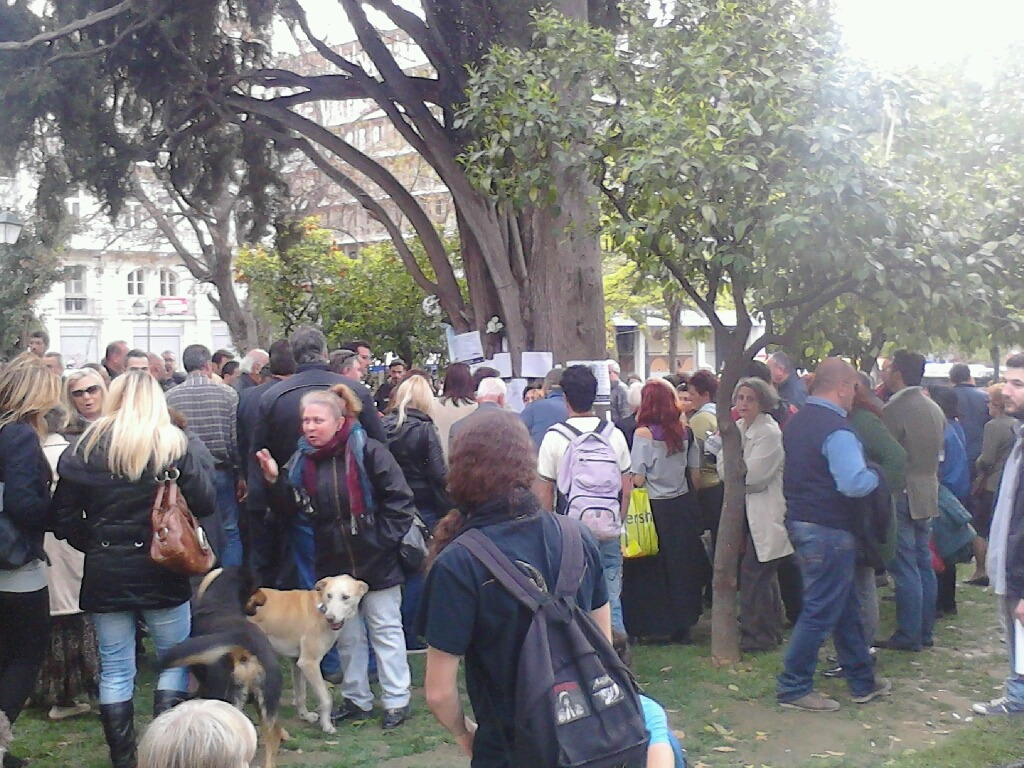 "rebeldog:  4 april 2012, Today, in #syntagma square, just next to the Greek parliament, a 77 year old man shot himself in the head. His last words, according to passers-by, were ""I don't want to leave a debt on my children"". Since this morning, people have swarmed around the tree, next to which the man took his own life, leaving notes and silently honoring his memory. His suicide note reads:  ""The Tsolakoglou government has annihilated all traces for my survival, which was based on a very dignified pension that I alone paid for 35 years with no help from the state. And since my advanced age does not allow me a way of dynamically reacting (although if a fellow Greek were to grab a Kalashnikov, I would be right behind him), I see no other solution than this dignified end to my life, so I don't find myself fishing through garbage cans for my sustenance. I believe that young people with no future, will one day take up arms and hang the traitors of this country at Syntagma square, just like the Italians did to Mussolini in 1945"" (Note: Tsolakoglou was the first collaborationist prime minister during Germany's occupation of Greece during the Second World War and the 77-year-old man compared the currently assigned prime minister Papademos to the traitor Tsolakoglou.)   this post's photo is by @iptamenos3 learn more about this story through this real-time storify post or through twitter via #syntagma hastag BBC article about the 40% suicide surge in Greece"