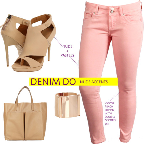 Nude colored shoes, bags and jewelry  are perfect for edging up your pastel looks.