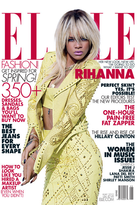 Rihanna for the May 2012 issue of ELLE. This seems so edgy for ELLE!