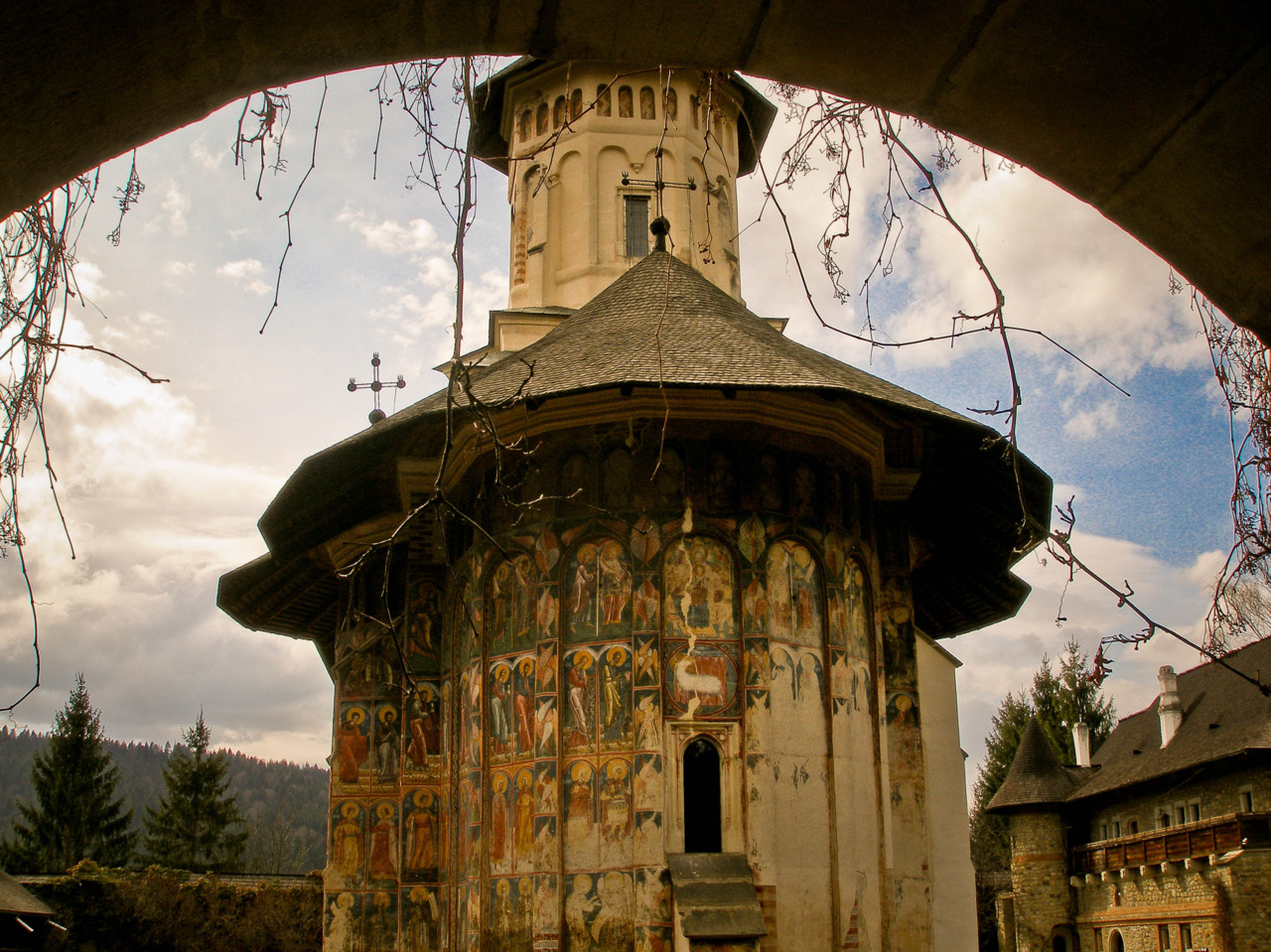 The beautiful Moldovita monastery, in Bucovina, Northern Romania. It is outstanding through the fact that it has gorgeous, well-preserved frescoes on its outer walls, depicting biblical scenes. It was built in 1532 and it is currently a UNESCO World Heritage Site.