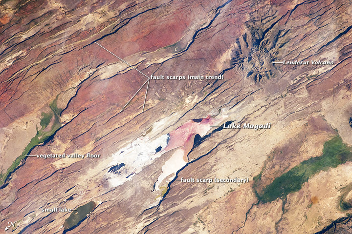 The East African Rift is one of the great tectonic features of Africa, caused by fracturing of the Earth's crust. This astronaut photograph of the Eastern Branch of the Rift (near Kenya's southern border) highlights the classical geologic structures associated with a tectonic rift valley. (via Nasa Earth Observatory)