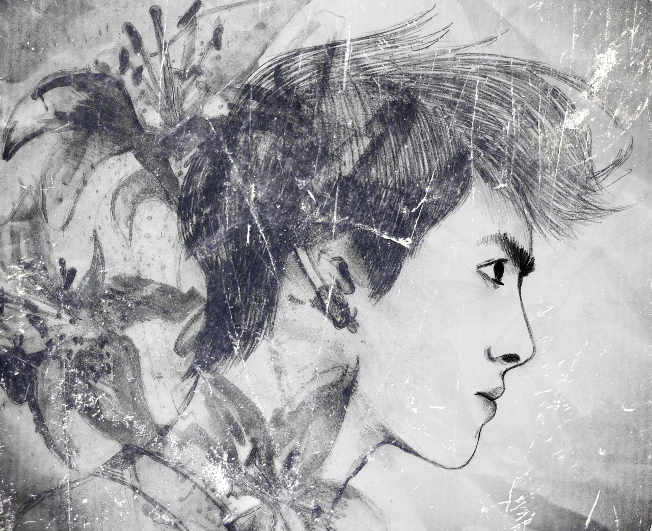 """flower boy"" - EXO's Kris (monochrome version)"
