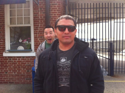 wontonburritomeals:  GPOYW - Ray Photobomb Edition  Juan's Blue Steel face w/shades + photobomb w/gum in my mouf = WIN.