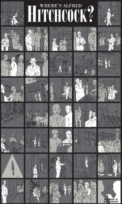 """Where's Alfred Hitchcock?"" by Derek Eads My piece for the upcoming Alfred Hitchcock tribute ""Suspense and Gallows Humor"" at Gallery 1988: Venice"