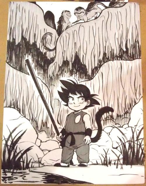 A young Son Goku (Dragonball) con sketch from Emerald City by Natalie Nourigat.