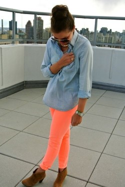 Double-up on denim when rocking neon jeans