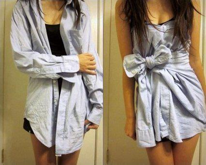 Another AWESOME way to wear a men's shirt! I really really wanna try this. I love that blue, too!
