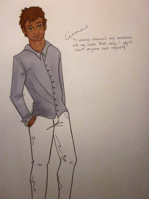 "thesketchinglife:  Cinna. Lovley Cinna. I couldn't figure out if there was anything in the books about his skintone, that's pretty annoying. Anyway, I decided to go safe and do as they did in the movie. Suppose it has affected me. Arrrg. ""I always channel my emotions into work. That way, I don't hurt anyone but myself."" - Cinna  I <3 Cinnaa :)"