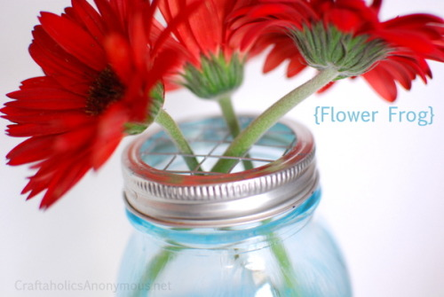 holly-go-brightly:  DIY mason jar flower pot lids: http://www.craftaholicsanonymous.net/how-to-make-mason-jar-flower-frog-lids-tutorial