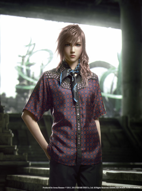 Final Fantasy XIII-2 characters, wearing Prada's Spring/Summer 2012 menswear collection? …yes, we give you luxury's attempt to penetrate gaming. The images were made by Square Enix's Visual Works and will appear in the April 12 issue of British magazine Arena Homme+.