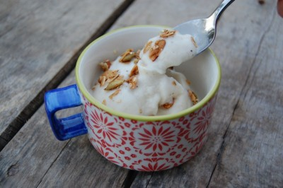 Banana ice cream, (click the source link for directions).  Would taste great with chocolate chips.