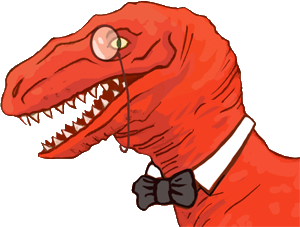 This video interview with an elegant, monocle-wearing velociraptor seems relevant to your interests.  I say, how dapper. Quite a welcome submission to our blog!