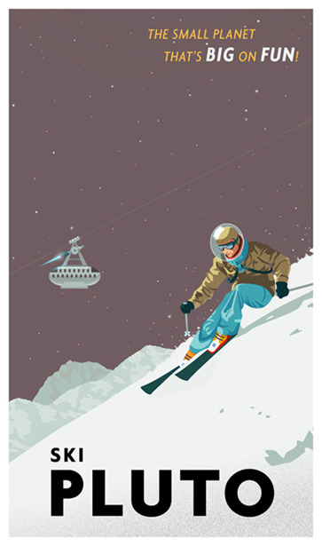 Vintage Space Travel Posters From the genius (I think it's safe to call him that) that brought us those awesome Star Wars travel posters, Steve Thomas, comes a collection of planetary vacation advertisements. Come to think of it, these may predate the Star Wars ones, but that's not important right now. Despite the scientific impossibility of the artwork (skiing on Pluto would be difficult with 8% of Earth's gravity), they invite dreams of a manned era in solar system exploration that I think we can all support. If you like Steve's art, visit his store and purchase posters, iPhone cases or postcards of these works and many more.