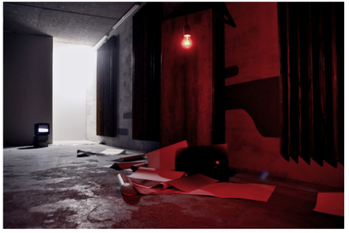 installation outland 2011 red light, argentic paper, tv