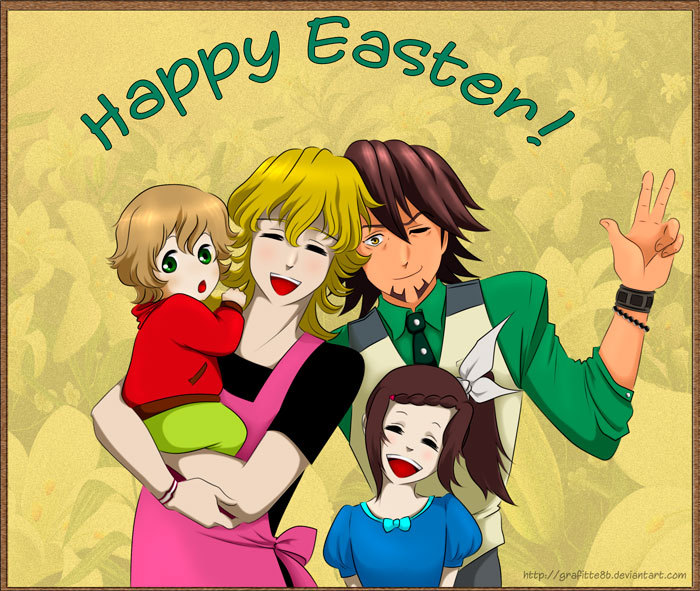 Because Easter is coming. =D Barnaby, Kotetsu, their little lovechild Tomoya and Kaede. I suck at drawing groups. And drawing a guy holding a baby is hellish difficult. Wish I had more time to work on this T^T