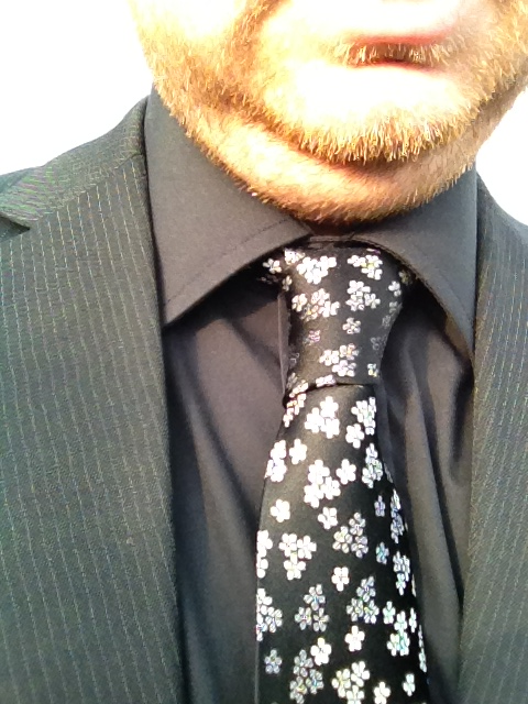 andywinter26:  Black flowery tie with black shirt and black pinstripe suit  I like this Tie!