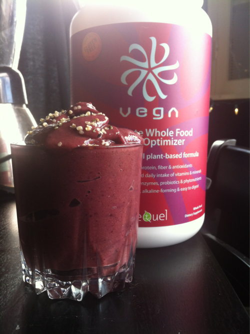 Berry Delicious Protein Smoothie! I realize I am posting a lot of smoothies lately but hot damn this is delish! Its a spin off of the smoothie I posted the other day. I would consider this a meal replacement smoothie! 1.5 cups organic frozen mango 1 cup freshly made Blueberry juice 1TB Maca 1tsp Acai 1/2 scoop Vega Protein Powder 1 tsp Raw Hemp Seeds (sprinkled on top) This packs protein, omegas, adrenal support, antioxidants and a healthy dose of vitamin C. Enjoy!!!