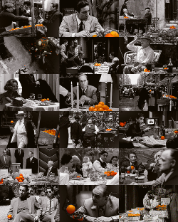 "In The Godfather Trilogy, the camera lingers over 20 times on oranges. Some interpreted this presence as an indication of imminent death or danger for the character interacting with the fruit. ""It started out as an accident"", said Coppola in DVD commentaries, ""but once we realized we had used oranges so frequently in the first movie, we used them purposefully in the others.""  The saga ends with Michael dying, an orange in his hand. [x]"