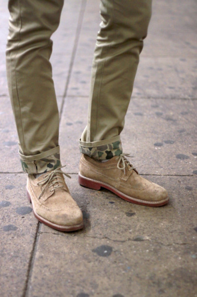 menshealthstyle:  Love that cuff. onassisclothing:  camouflage. mrdanger:  no joke.  if anyone has the levi's camo trousers in 32x32 i will buy them from you. i ruined mine. b/c i am irresponsible. THIS IS WHY I CAN'T HAVE NICE THINGS photo by matt perrone for WAYDU