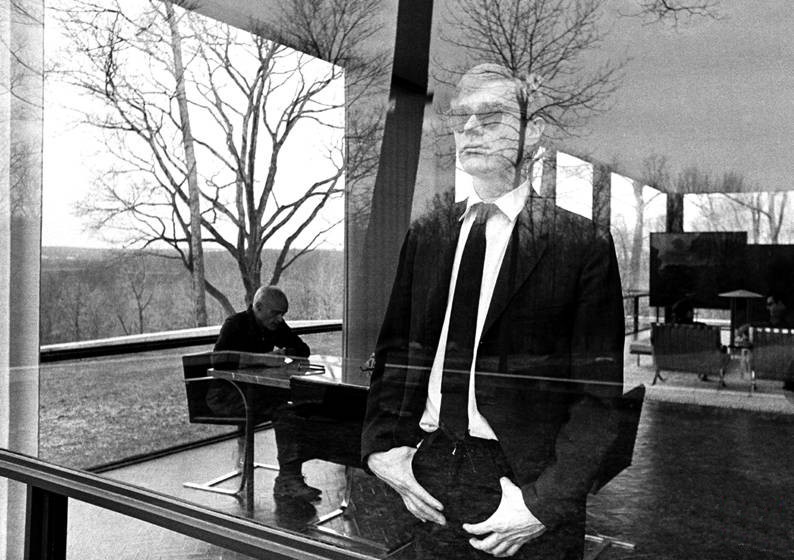 Andy Warhol with Philip Johnson at Johnson's The Glass House in New Canaan, CT, winter 1964-65. Photo by David McCabe.