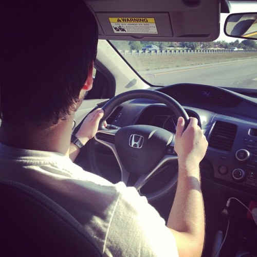 obey-jas:  the only one I really trust driving my car @dotdotjuan lol (Taken with instagram)  mira que sexy me veo