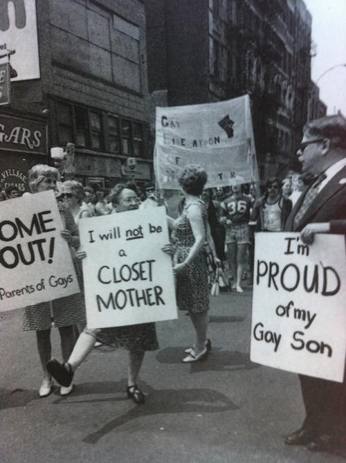 lgbtqgmh:  [Parents of LGBTQ* individuals in a pride march; holding signs that read, 'Come out! Parents of gays', 'I will not be a closet mother' and 'I'm proud of my gay son']