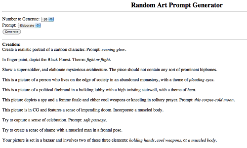 Random Art Promt Generator  This site has a really good generator for making up themes for painting to draw. Sometimes it might turn out a little bit random, but most of the times it makes sense. The best part is that it also sometimes suggest art style and color scheme for the painting.