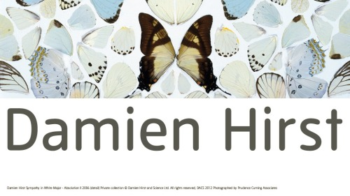 "If I was in London I'd be rushing to see Damien Hirst's retrospective at the Tate Modern.  It will feature his ""greatest hits""- spots, sharks, skulls, butterflies and pills.     (via http://www.tate.org.uk)"