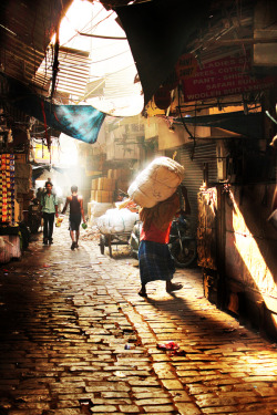yesterday-was-once-a-tomorrow:  Brick street, morning light, and Delhi.