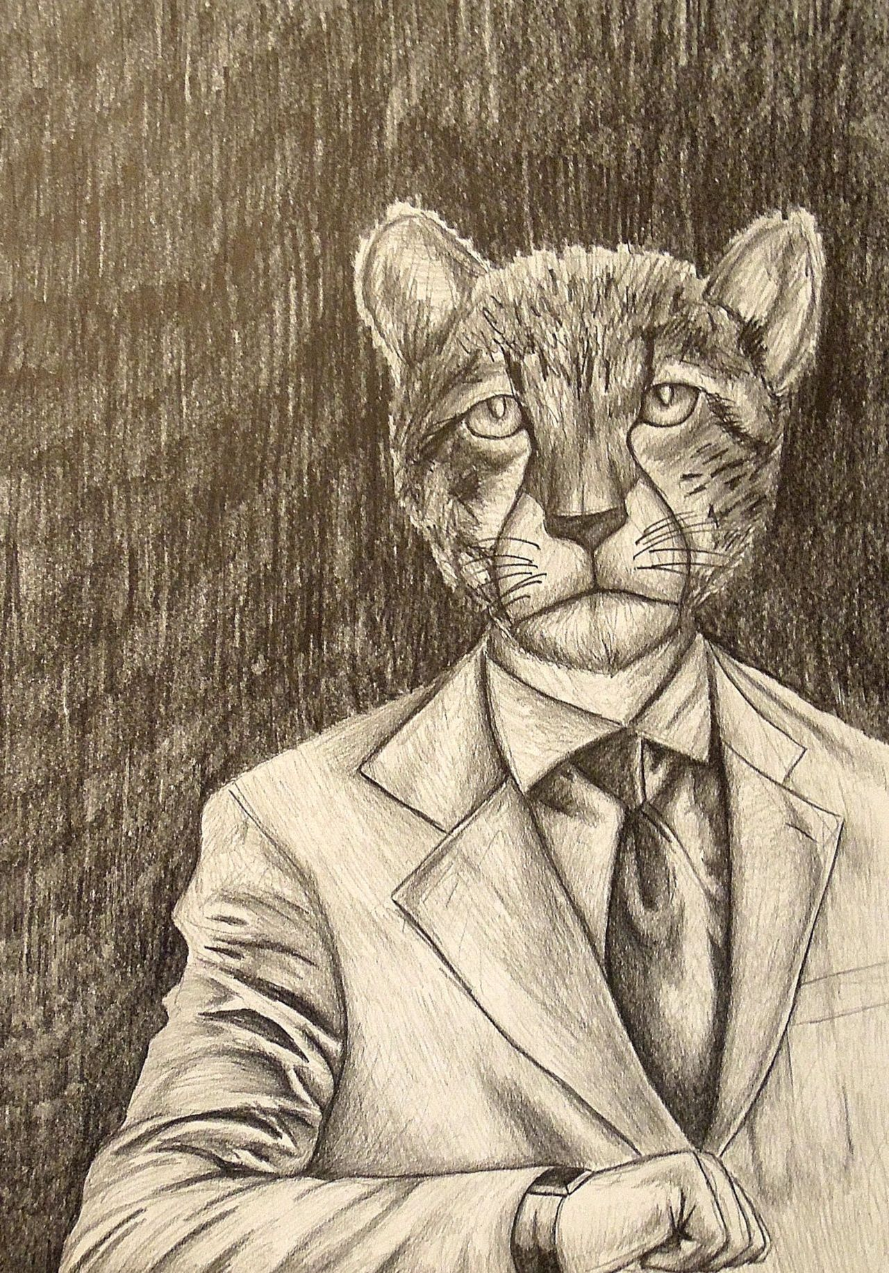 "Cheetah on Time22"" x 30""Graphite on paper2009"