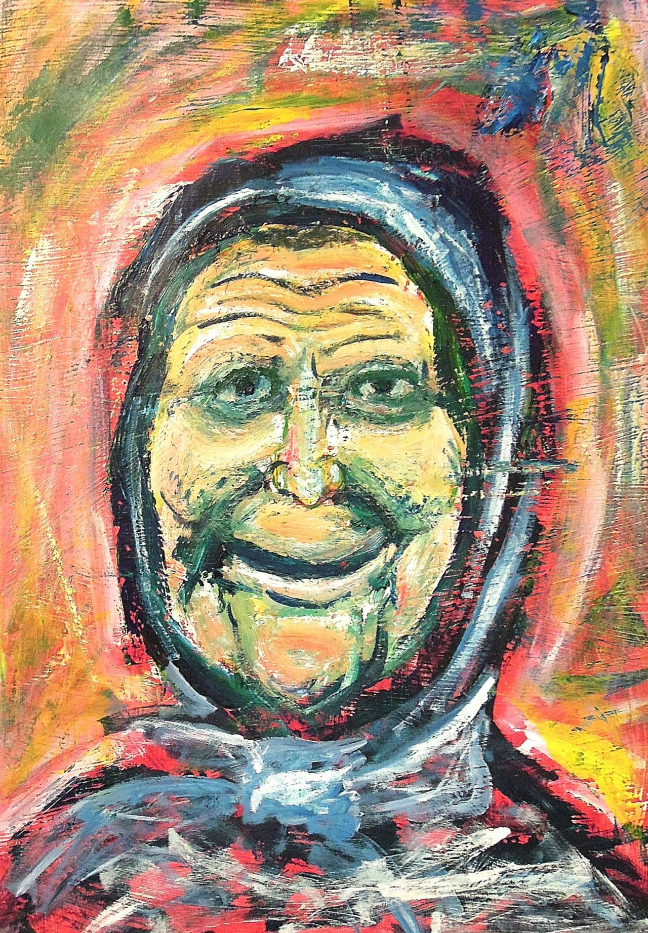 "Old Woman22"" x 30""Acrylic on paper2008"