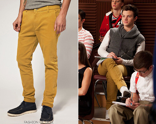 fashionofglee:  Kurt and Blaine have both set their sights on mustard-colored pants this season, and these chinos from Asos are the perfect way to snag Kurt's high fashion look on a high street budget. (similar) Asos Skinny Chinos - $44.76 Worn with: If Only It Was True vest, Thomas Engel Hart boots