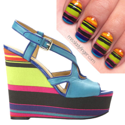 missladyfinger:  **SPONSORED POST** Manicure Muse: Boushie Sandal by Nine West It's always my pleasure to bring runway fashion directly to your ladyfingers, but let's be real— there's only so many splurges a fashionista can make. That's why I'm excited to present a look that won't break the bank, but will still keep you on trend. The Boushie sandal from the #flashingourbrights collection is bright and perfect for summer. Get the Boushie sandal here. To emulate, I used Mitzi by Zoya, Notting Hill by Nails Inc, L'Orange by L'Oreal, Carnaby Street by Nails Inc, True Blue by Orly Instant Artist and Blue Collar by Orly.