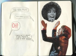 This collage depicts Mick Jagger trying to squash Whitney's head. BUT WAIT! Mick is being rude because there's a John Mayer where his heart should be!