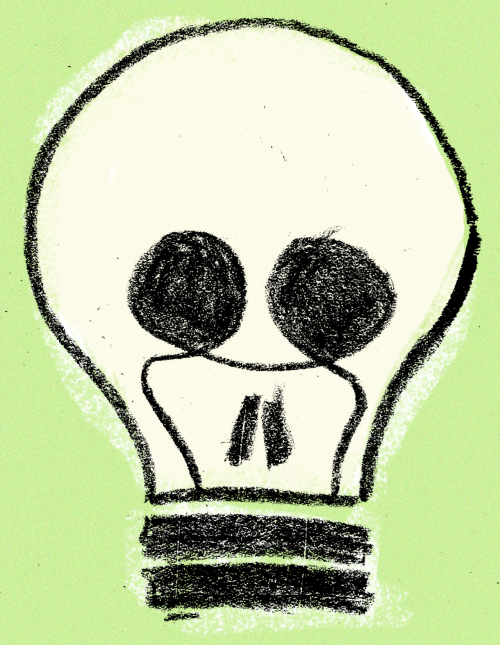 I'm supposed to be drawing light bulbs for a logo but they keep looking like skulls.  Also, have you guys switched to those Al Gore bulbs? Because I've just accidentally come across this visual metaphor for how the wasteful energy consumption is killing our planet?