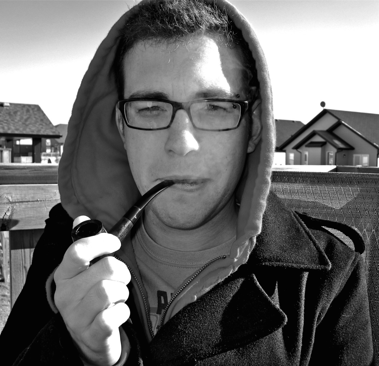kirstylorrainephotography:  My friend trying out his new tobacco pipe on his birthday.  Happy birthday, friend.
