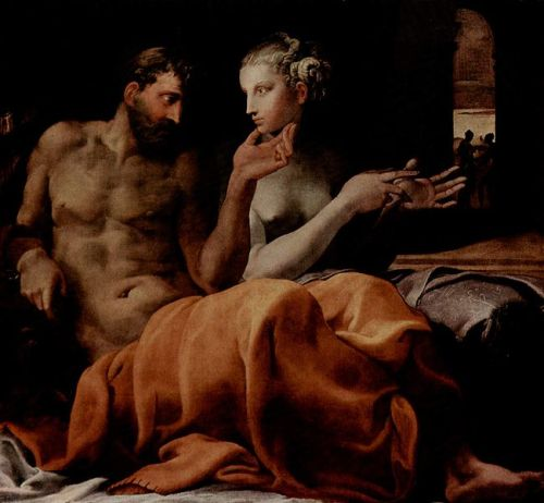 Francesco Primaticcio, Odysseus and Penelope (1563) I've had this open in my tabs for ages and ages. I will never stop finding the pair of them fascinating.