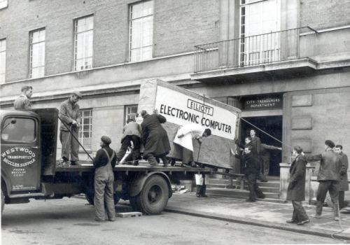 Norwich City Council's first computer, an Elliott 405, being delivered. 1957. (via, via)