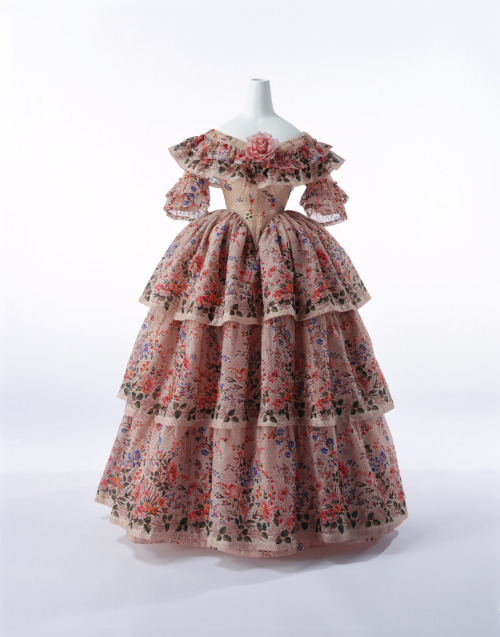 French gown from 1855, great example of full color printed wool silk blends. Accession Number: AC9475 97-23-6AB
