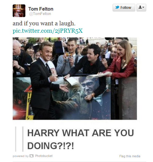 thusspakekate:  Holy shitballs. Tom Felton tweeted a screencap from tumblr. DOES HE TROLL THE DRARRY TAG TOO? HAI TOM.