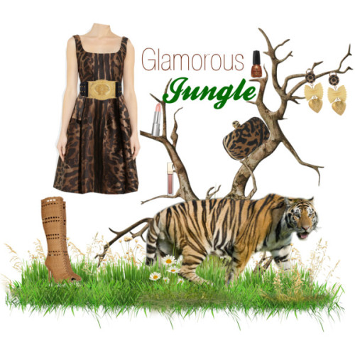 Glamorous Jungle by glam-val featuring satin evening dressesAlexander McQueen satin evening dress, $4,970Gucci high heel boots, $3,750Alexander mcqueen clutch, $1,775Dolce&Gabbana clip on earrings, $290Balmain studded belt, $1,625Clarins lipstick, $20Nude lipstick, $15