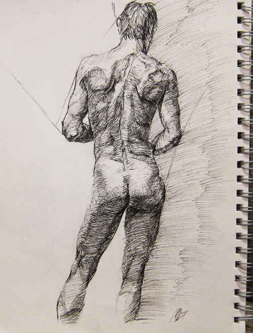 sketchbook study of the back